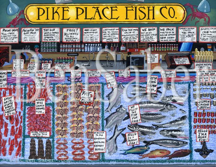 pike place fish co. market seattle painting picture