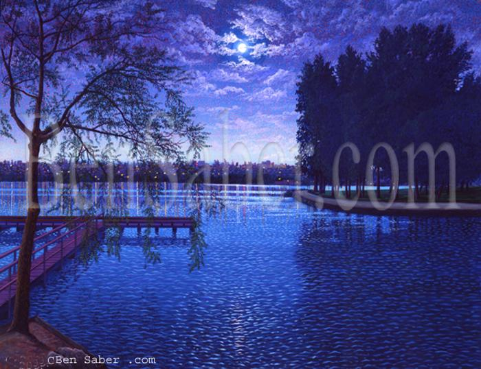 greenlake green lake night moon painting seattle park picture