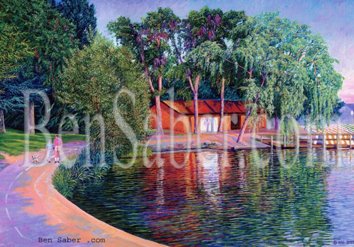 greenlake painting boat house picture seattle art
