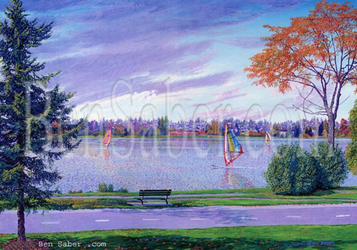 greenlake painting green lake picture windsurfer trail path bench