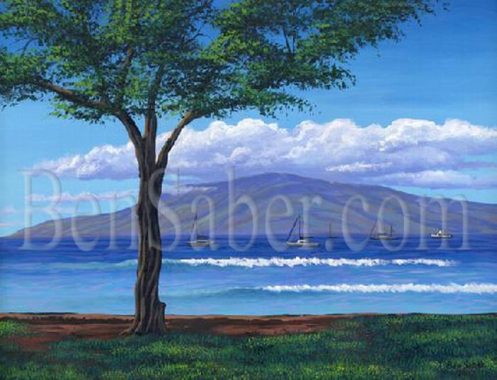 Lanai Island From Lahaina Harbor Park. Original acrylic painting picture