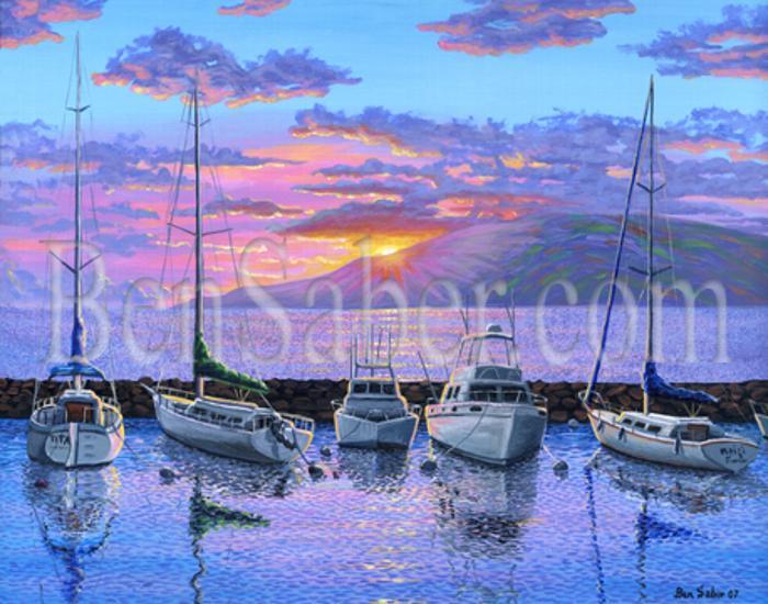 Lahaina Harbor Sunset Painting Maui Hawaii Ben Saber