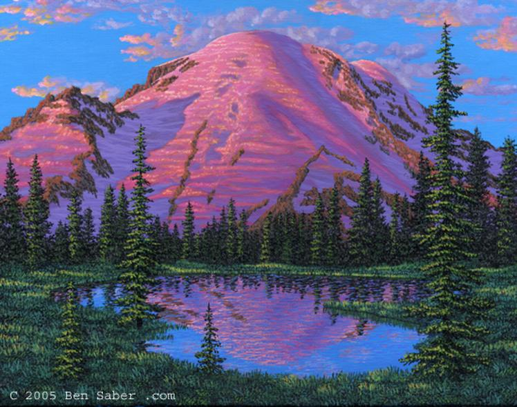 Painting Mt mount Rainier Sunrise Park, Washington picture mountain