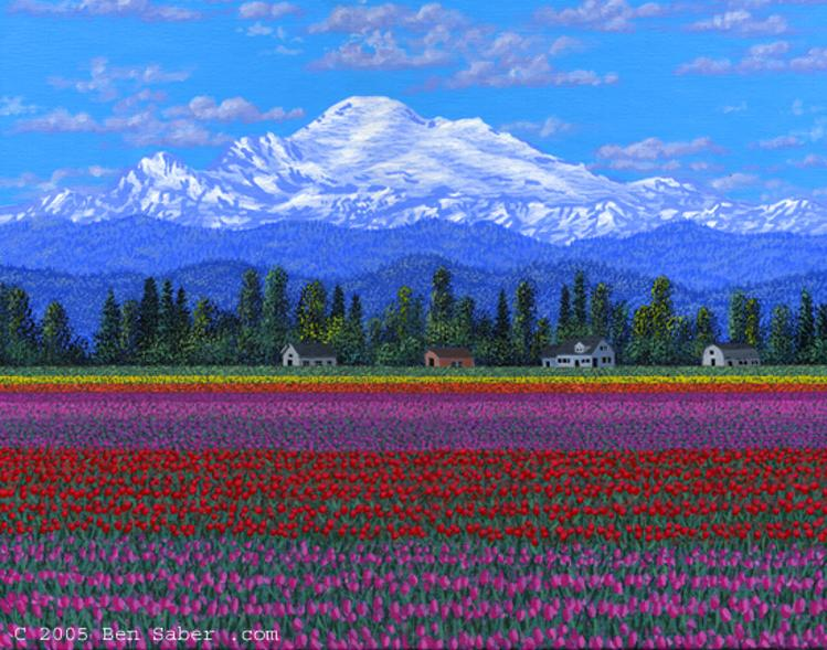 Painting Skajit Valley Tulips & Mt Baker, Washington picture