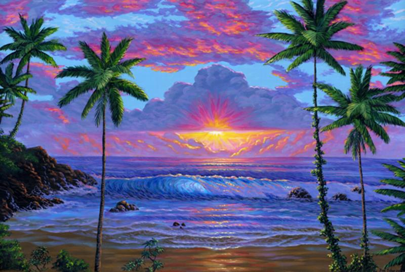 Hawaiian beach at sunset painting #162. Original acrylic on canvas 24 x 36 inches. Prints On Canvas are Available