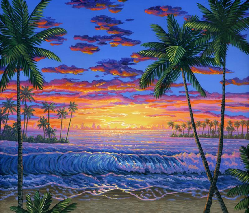 ainting Hawaiian Beach Sunset Original acrylic painting on canvas inches Ben Saber