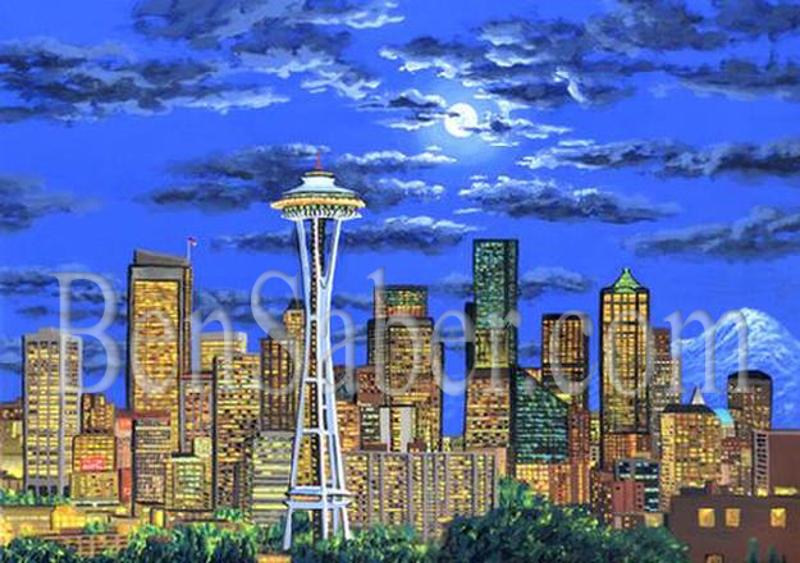 Downtown seattle from queen ann hill moon painting art for Paint store seattle