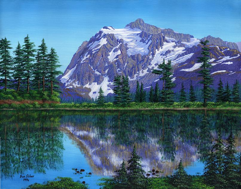 Mt Shuksan from picture lake painting print art